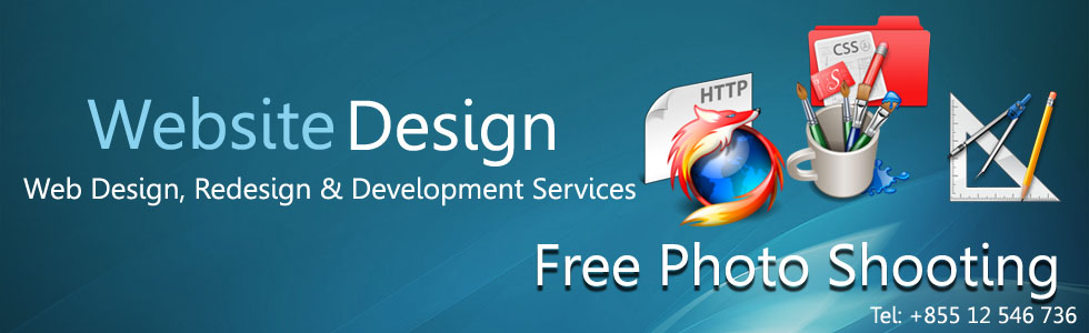 Web Design, Redesign & Development Services, Design Web Free Photo Shooting. Located Siem Reap Cambodia.